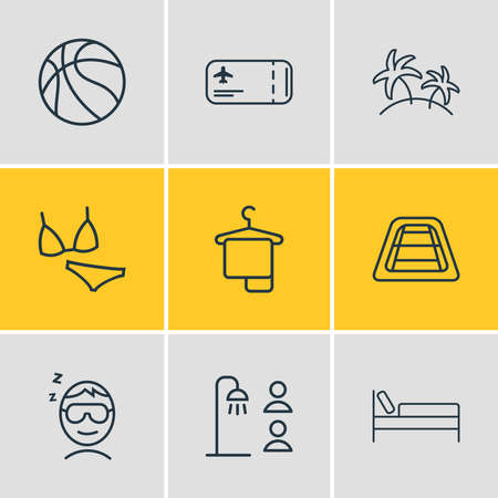 Vector illustration of 9 tourism icons line style. Editable set of hanger, sleeping man, shared bathroom and other icon elements.