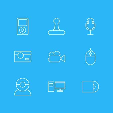 Vector illustration of 9 hardware icons line style. Editable set of joystick, cd-rom, video camera and other icon elements. Ilustração
