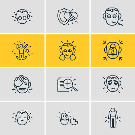 Vector illustration of 12 emoji icons line style. Editable set of pathetic, research, guilty and other icon elements.