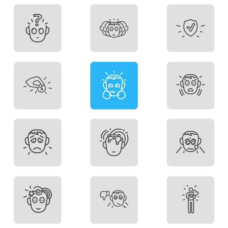Vector illustration of 12 emotions icons line style. Editable set of contribution, grieving, problem and other icon elements.