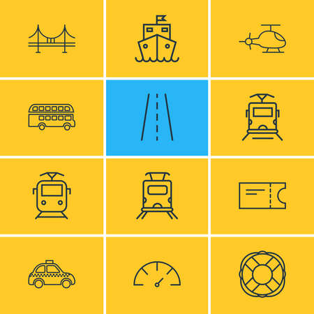 Vector illustration of 12 carrying icons line style. Editable set of suburban train, lifebuoy, speedometer and other icon elements. Vetores