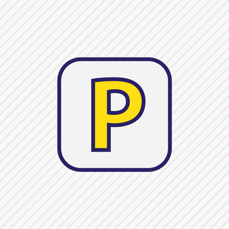 illustration of parking sign icon colored line. Beautiful transport element also can be used as park zone icon element. 写真素材