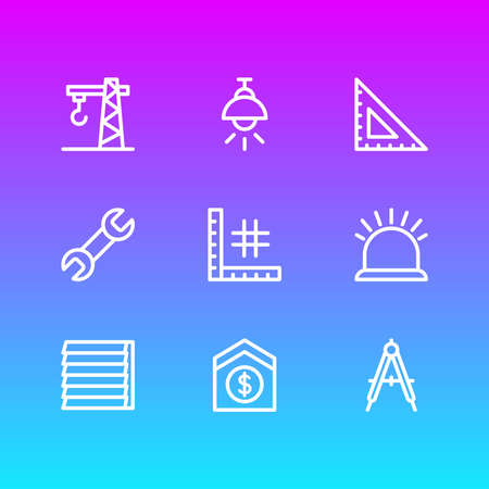illustration of 9 industry icons line style. Editable set of security, crane, sell house and other icon elements.