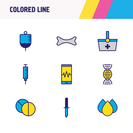 Vector illustration of 9 medical icons colored line. Editable set of needle, smartphone, bone and other icon elements.