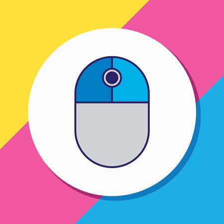 Vector illustration of mouse icon colored line. Beautiful laptop element also can be used as scrolling icon element. Ilustração