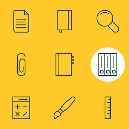 Vector illustration of 9 stationery icons line style. Editable set of library, notebook, clip and other icon elements.