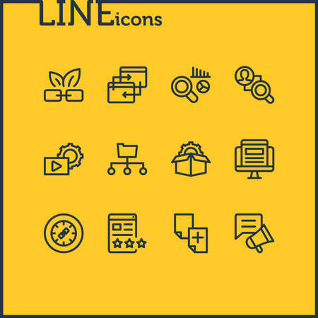 Vector illustration of 12 advertisement icons line style. Editable set of market analysis, service packages, link wheel and other icon elements.