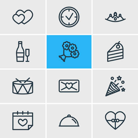 Vector illustration of 12 party icons line style. Editable set of heart, beverage, crown and other icon elements.