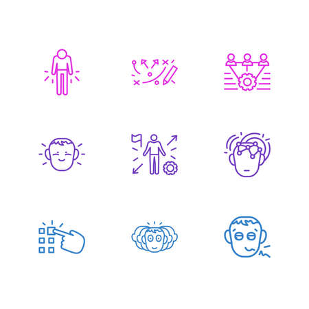 Vector illustration of 9 emotions icons line style. Editable set of personality, failure, opportunities and other icon elements.