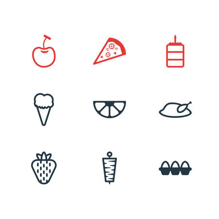Vector illustration of 9 meal icons line style. Editable set of chicken, kebab, birthday cake and other icon elements.