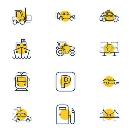 Vector illustration of 12 carrying icons line style. Editable set of forklift, suburban train, eco car and other icon elements.