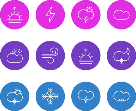 Vector illustration of 12 weather icons line style. Editable set of stormy, moon, rain and other icon elements.