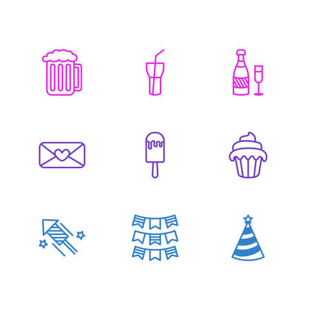 Vector illustration of 9 party icons line style. Editable set of muffin, ice cream, beer and other icon elements.