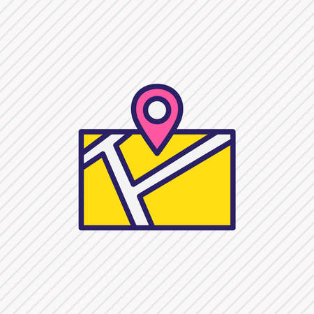 Vector illustration of location icon colored line. Beautiful direction element also can be used as map route icon element.