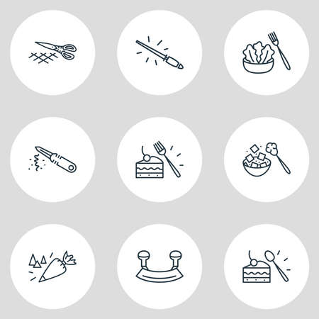 Vector illustration of 9 utensil icons line style. Editable set of dessert fork, sugar spoon, mincing knife and other icon elements.