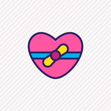 Vector illustration of gift icon colored line. Beautiful amour element also can be used as heart present icon element.