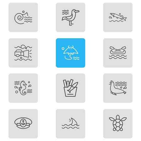 Vector illustration of 12 nautical icons line style. Editable set of pike fish, underwater flashlight, fish with chips and other icon elements.