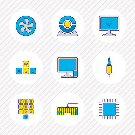 Vector illustration of 9 computer icons colored line. Editable set of fan, cpu, web cam and other icon elements.