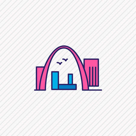 Vector illustration of gateway arch icon colored line. Beautiful culture element also can be used as archway icon element.