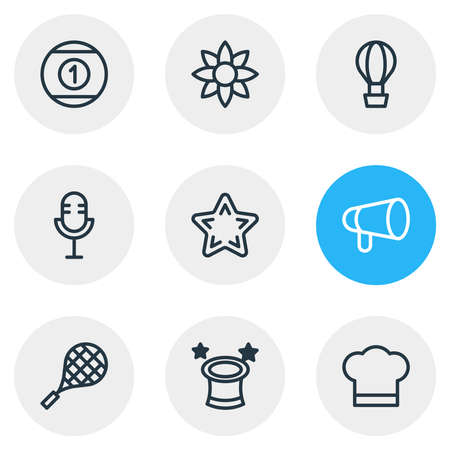 illustration of 9 leisure icons line style. Editable set of flower, microphone, wizard and other icon elements.