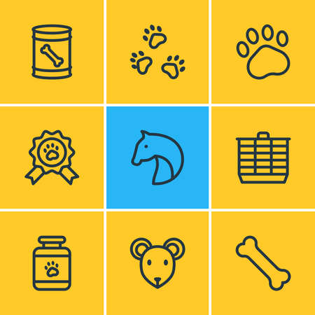 Vector illustration of 9 zoo icons line style. Editable set of horse, hamster cage, pet award and other icon elements. Banco de Imagens - 142103887