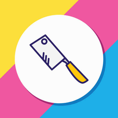 Vector illustration of chopping knife icon colored line. Beautiful kitchenware element also can be used as butcher icon element.