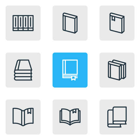 illustration of 9 book icons line style. Editable set of bookmarking, knowledge, notebook and other icon elements.