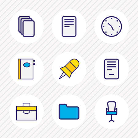 illustration of 9 workplace icons colored line. Editable set of document case, office chair, pin and other icon elements. 版權商用圖片