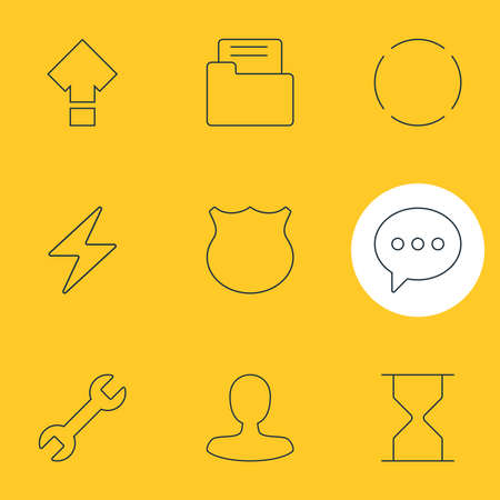 illustration of 9 UI icons line style. Editable set of shield, reload, e-mail and other icon elements.