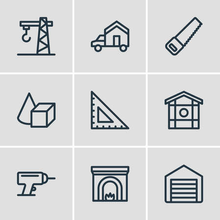 Vector illustration of 9 architecture icons line style. Editable set of ruler, crane, figures and other icon elements.