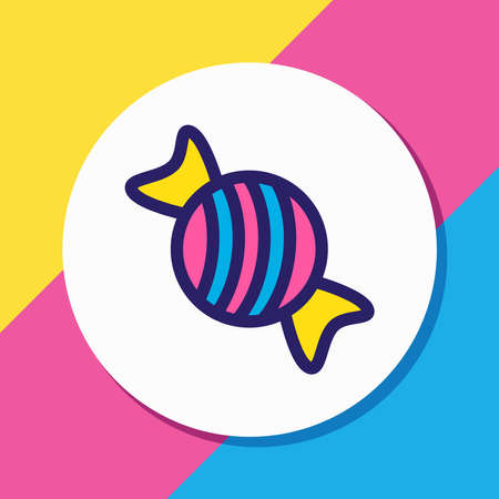 Vector illustration of candy icon colored line. Beautiful eating element also can be used as bonbon icon element.