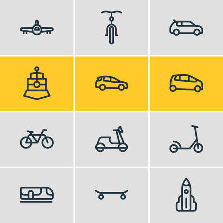 Vector illustration of 12 transport icons line style. Editable set of motorcycle, bike, train and other icon elements.