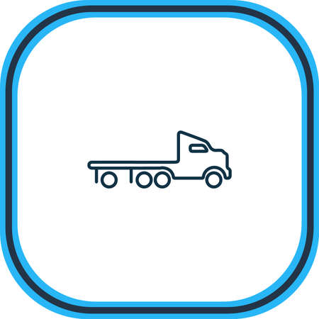 Vector illustration of flatbed truck icon line. Beautiful transport element also can be used as wrecker icon element.