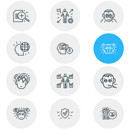 Vector illustration of 12 emoji icons line style. Editable set of mind map, pathetic, protection and other icon elements. Illustration
