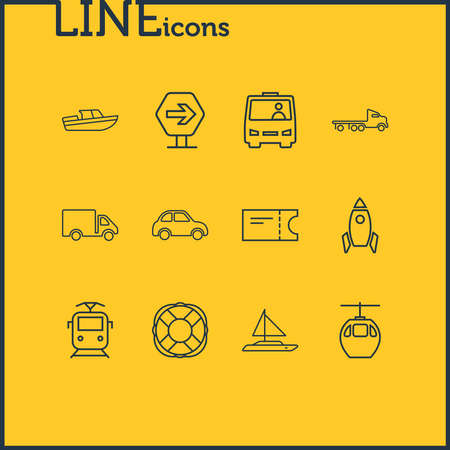 Vector illustration of 12 carrying icons line style. Editable set of lifebuoy, train ticket, truck and other icon elements.