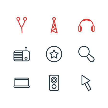 illustration of 9 media icons line style. Editable set of radio, earphone, favorite and other icon elements.