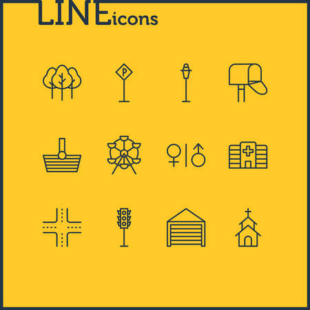 illustration of 12 public icons line style. Editable set of church, shopping, hospital and other icon elements.