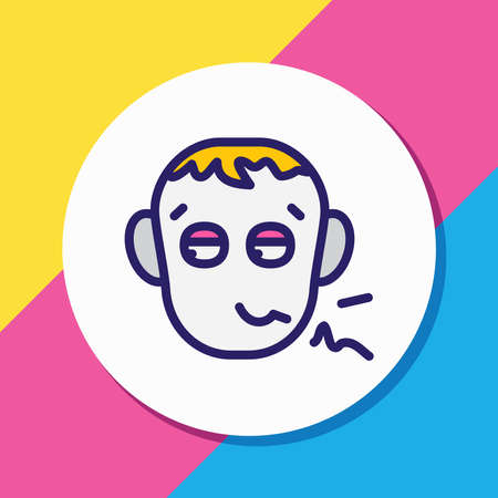 Vector illustration of pathetic icon colored line. Beautiful emoticon element also can be used as depression icon element.