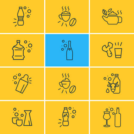 Vector illustration of 12 drink icons line style. Editable set of still water bottle, shaker, tea in pot and other icon elements. Illustration