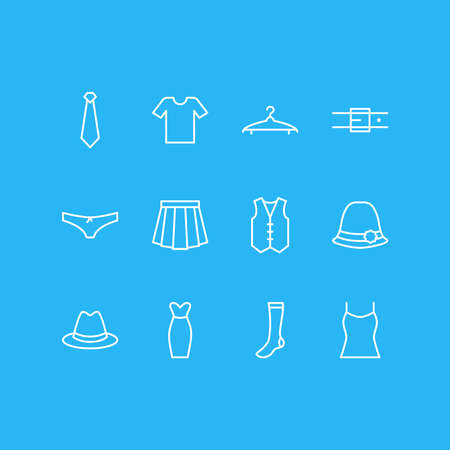 Vector illustration of 12 dress icons line style. Editable set of underwear, hanger, socks and other icon elements.