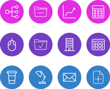 Vector illustration of 12 bureau icons line style. Editable set of graph, mail, cappuccino and other icon elements.