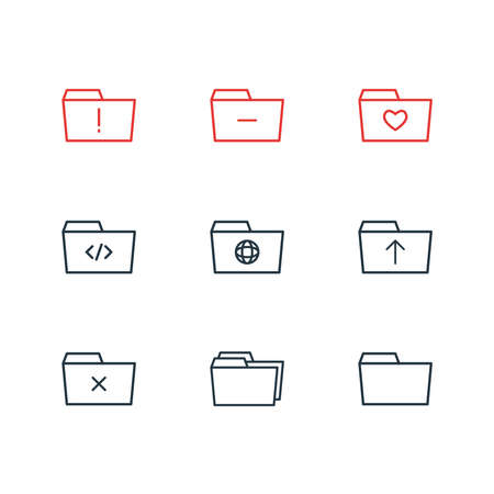 Vector illustration of 9 folder icons line style. Editable set of remove, code, shared and other icon elements. 向量圖像