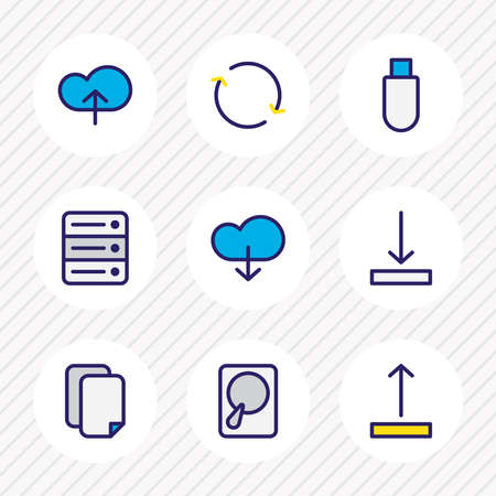 Vector illustration of 9 archive icons colored line. Editable set of download, server, hdd and other icon elements.