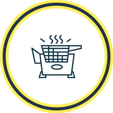 Vector illustration of fryer icon line. Beautiful appliance element also can be used as cooking basket icon element. Çizim
