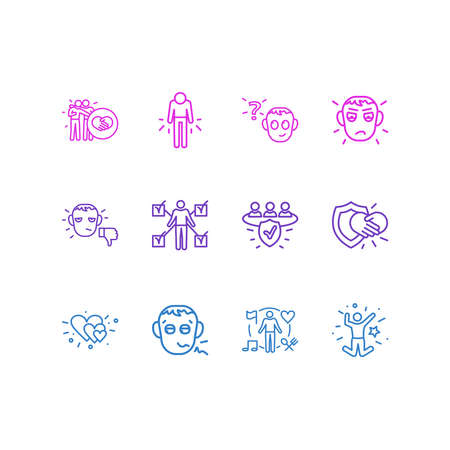 Vector illustration of 12 emoticon icons line style. Editable set of interest, behavior, unsatisfied and other icon elements.