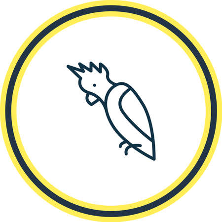 Vector illustration of cockatoo icon line. Beautiful zoology element also can be used as parrot icon element. Çizim