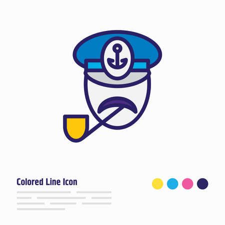 Vector illustration of captain icon colored line. Beautiful sea element also can be used as seaman icon element.