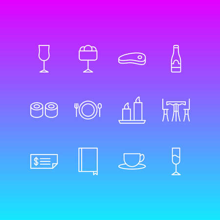 illustration of 12 restaurant icons line style. Editable set of wineglass, steak, restaurant and other icon elements. Banque d'images
