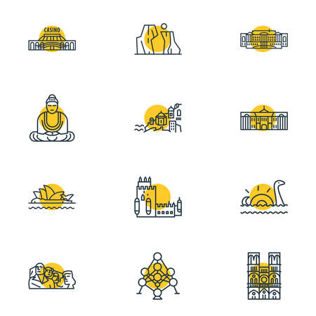 Vector illustration of 12 world landmarks icons line style. Editable set of tsarskoe selo, santorini, the grand canyon icon elements.