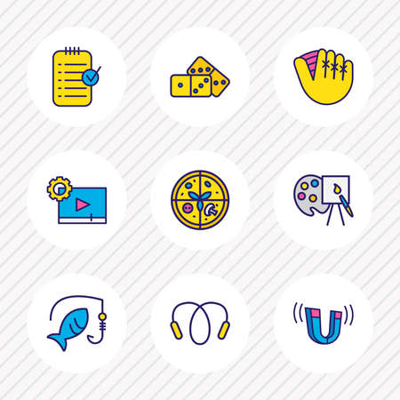 Vector illustration of 9 hobby icons colored line. Editable set of planning, video maker, jumping rope and other icon elements.